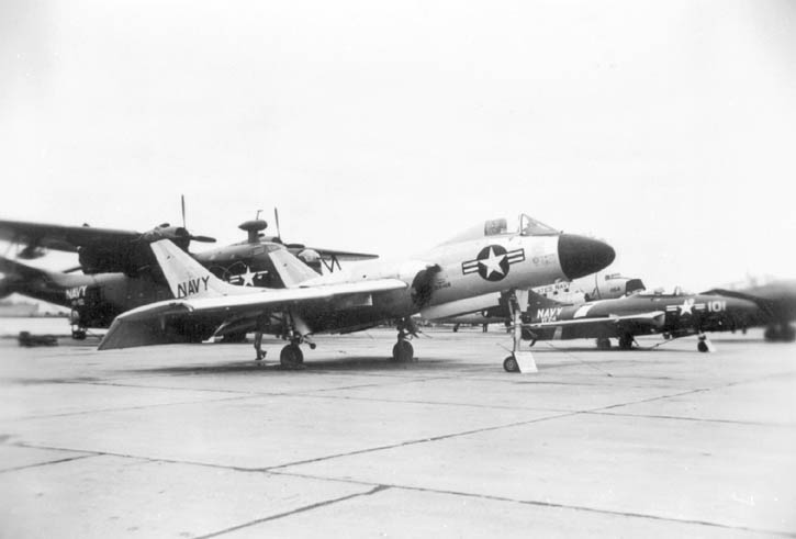 Chance Vought F7U Cutlass, s/n 128466,  Grumman F6F-5 Cougar of VF-24, Grumman TBF Avenger,  Douglas R4D (Navy version of the DC-3) and a rare Martin PBM-5A Mariner on display at an airshow in the early 1950s.